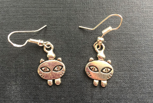 Handmade Fat Cat Metal Earrings - E003