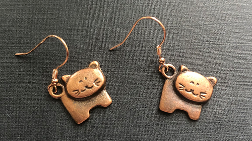 Handmade Copper Cat Metal Earrings
