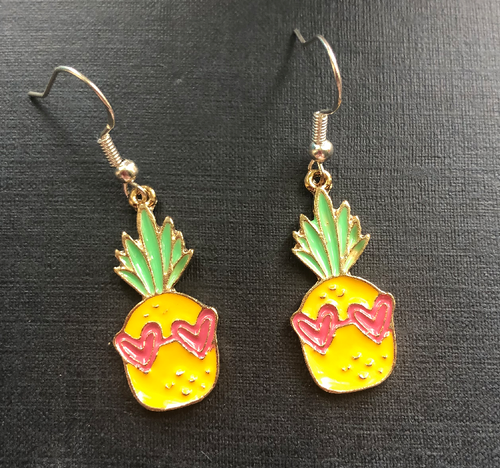 Handmade Metal Pineapple Enamel Earrings