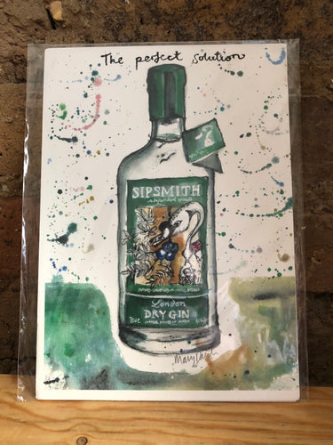 Gin O'Clock Sipsmith Print by Uk Designer Mary Darch