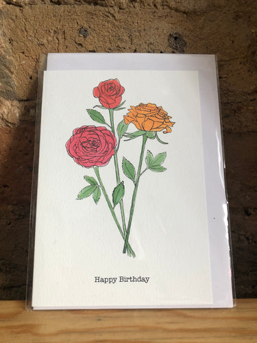 Roses Happy Birthday Greetings Card