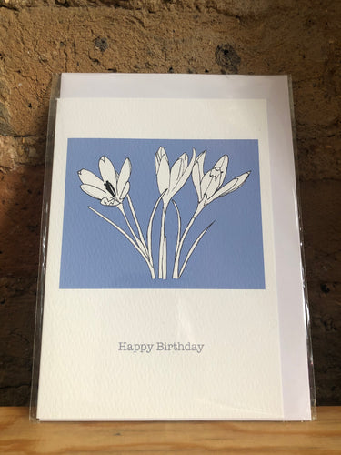 Happy Birthday Crocus Greetings Card