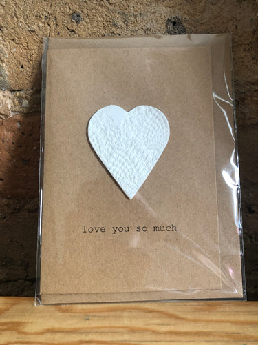 Clay Heart Handmade Love You Greeting Card