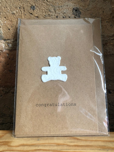 Clay Teddy Handmade Congratulations Greeting Card