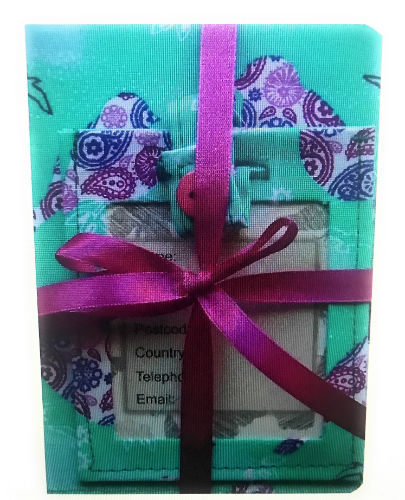 Mint and Plum Birds Print Passport Cover and Luggage Tag Gift Set