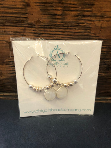 Rainbow Moonstone & Sterling Silver Round Drop Hoop Earrings