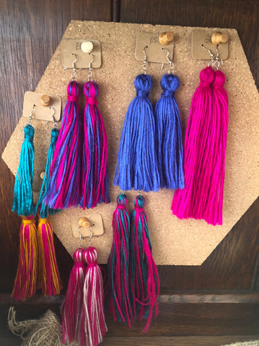 Handmade Wool Tassel Earrings