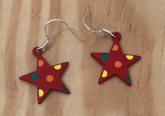 Handmade Red Star Clay Earrings - E046 - Miss Pretty London UK Limited