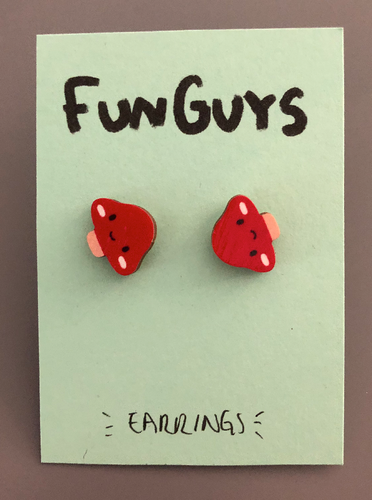 Fun Guy Red Mushroom Earrings