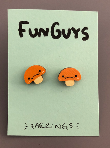 Fun Guy Yellow Mushroom Earrings
