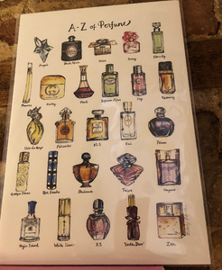 A-Z Perfume Print by Uk Designer Mary Darch