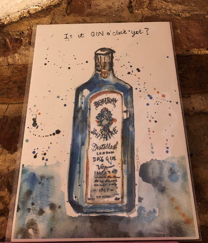 Gin O'Clock Bombay Sapphire Print by Uk Designer Mary Darch