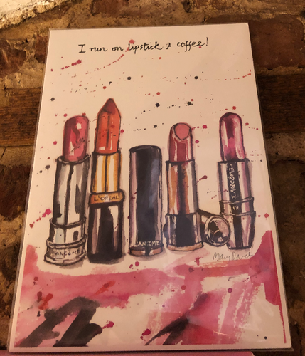 Lipstick & Coffee Print by Uk Designer Mary Darch