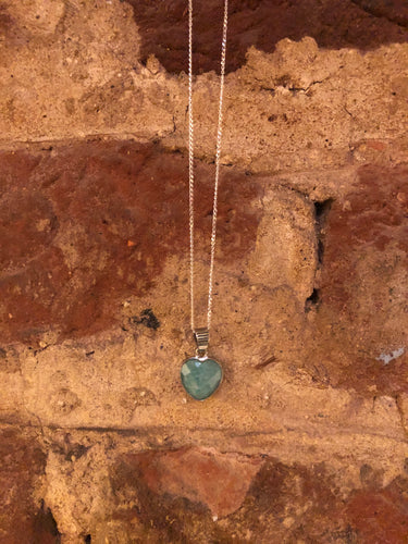 Amazonite Heart Gemstone and Sterling Silver Necklace