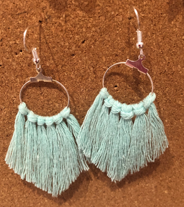 Aqua Macrame Wool Earrings - STASSER