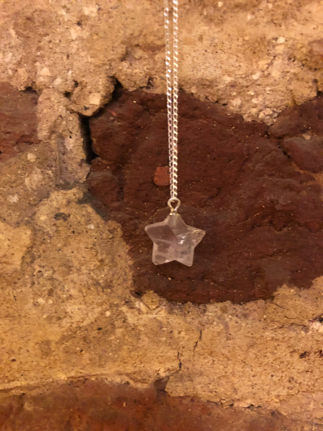 Rose Quartz Star Gemstone and Sterling Silver Necklace