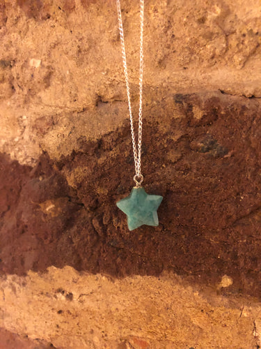 Amazonite Star Gemstone and Sterling Silver Necklace