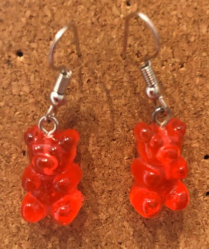 Handmade Red Jelly Bear Earrings - E063