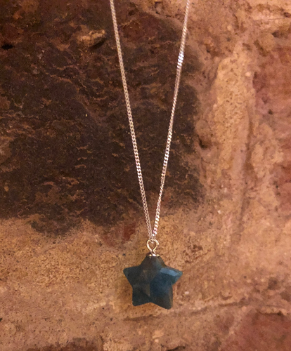 Apatite Star Gemstone and Sterling Silver Necklace