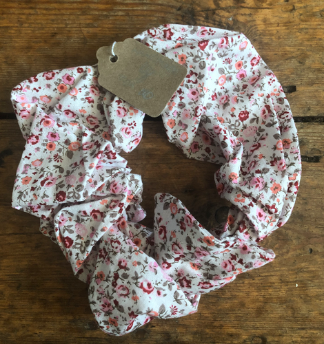 Pink Ditsy Print Hair Scrunchie - Miss You
