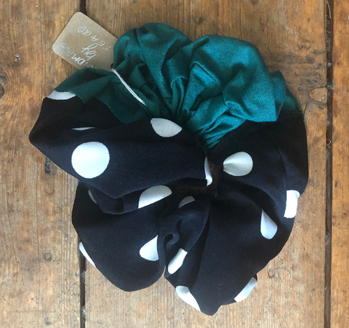 Green Polka Dot Hair Scrunchie - Lights Out