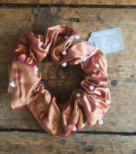 Dupion Silk Beaded Hair Scrunchie - Honeycomb