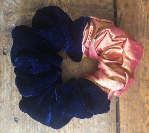 Navy Satin & Dupion Silk Hair Scrunchie - Around Midnight
