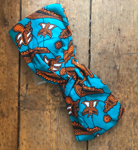 Orange & Blue Paisley Print Top Knot Fabric Headband - Queen Next Door
