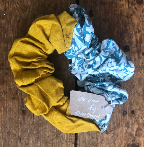 Mustard & Teal Print Hair Scrunchie