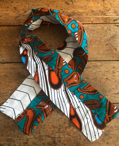 Green & Orange Ankara Print Hairband Wrap