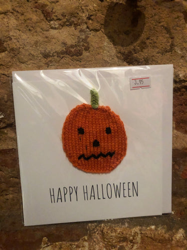 Pumpkin Halloween Knitted Greeting Card - PUG008