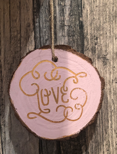 Love Wooden Slice Decoration - Various Colours Available - PIW18