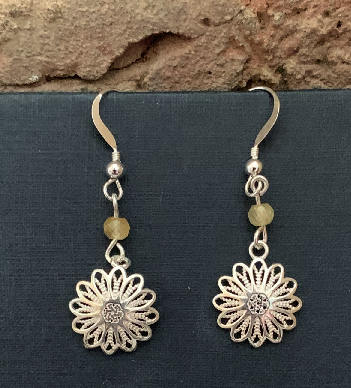 Sterling Silver Daisy and Quartz Earrings