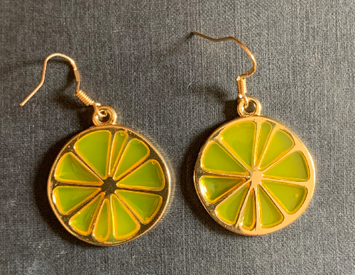 Handmade Lemon Slices Enamel Earrings - E017