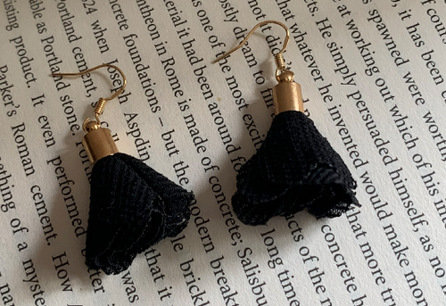 Handmade Fabric Black Flower Earrings - E017