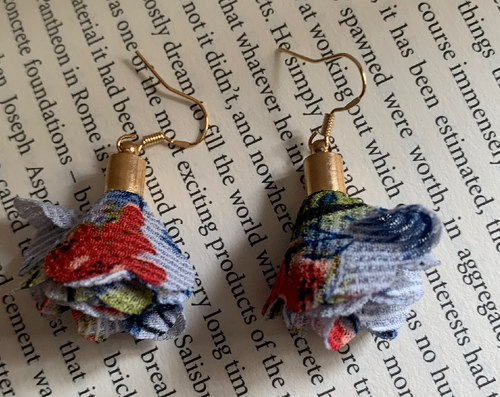 Handmade Fabric Red and Blue Flower Earrings - E037
