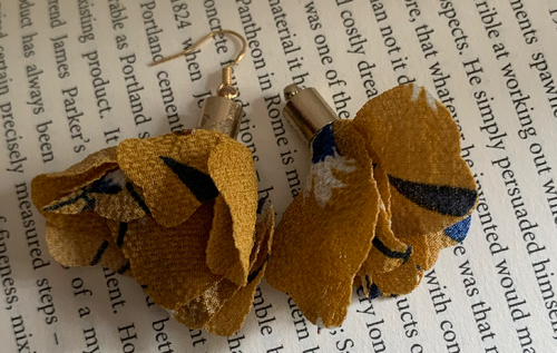 Handmade Fabric Mustard Flower Earrings - E034