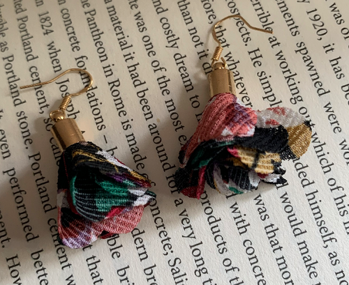 Handmade Fabric Multicoloured Flower Earrings - E033