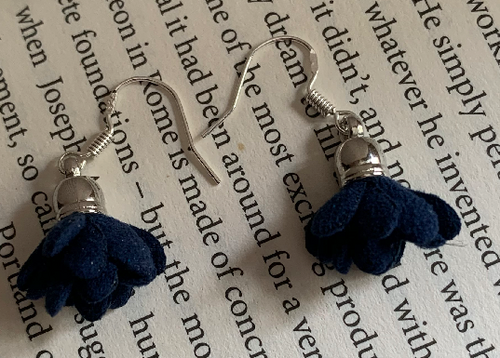 Handmade Fabric Navy Blue Flower Earrings - E036