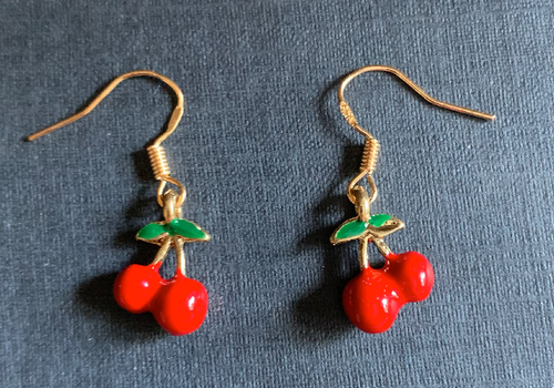Handmade Cherry Enamel Earrings - E030