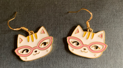 Handmade Black and White Clever Cat Enamel Earrings - E027