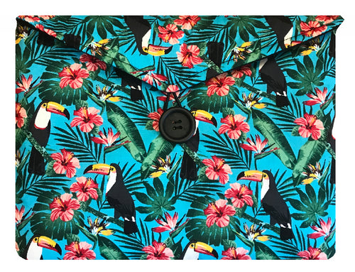 Aqua Blue Tiki Toucan Print Tablet Bag