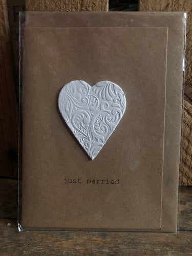 Clay Handmade Just Marrried Greeting Card - CJMH