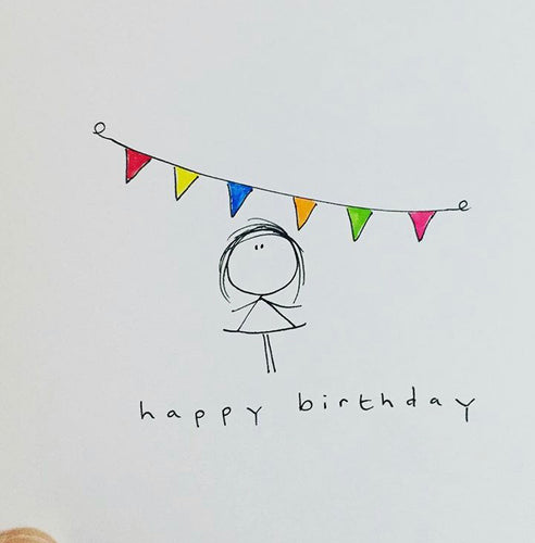 Happy Birthday Bunting Greeting Card - WH012