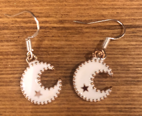 White Moon Enamel Earrings - D099