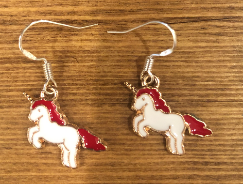 Pink Unicorn Enamel Earrings - D093