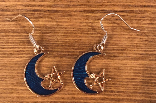 Fairy Moon Enamel Earrings - D084