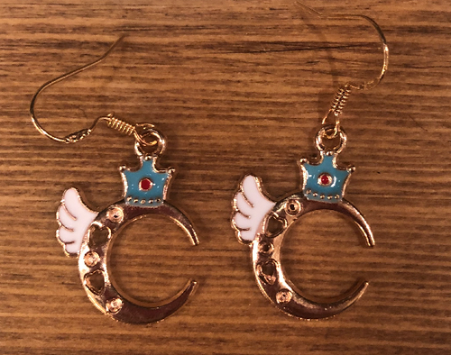Angel Moon Enamel Earrings - D071