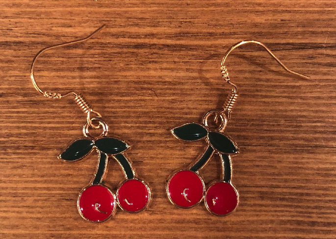 Cherry Enamel Earrings - D053