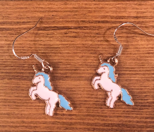 Blue Unicorn Enamel Earrings - D038